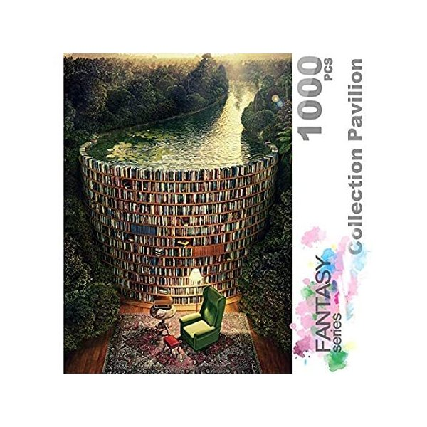 InGooooD -ジグソーパズル 1000 絵画 書架-木製パズル 大人 向け(6歳以上が適しています)