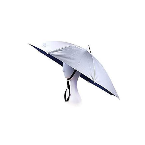 (Silver) - JANGANNSA Fishing Umbrella Hat Folding Sun Rain Cap Adjustable O