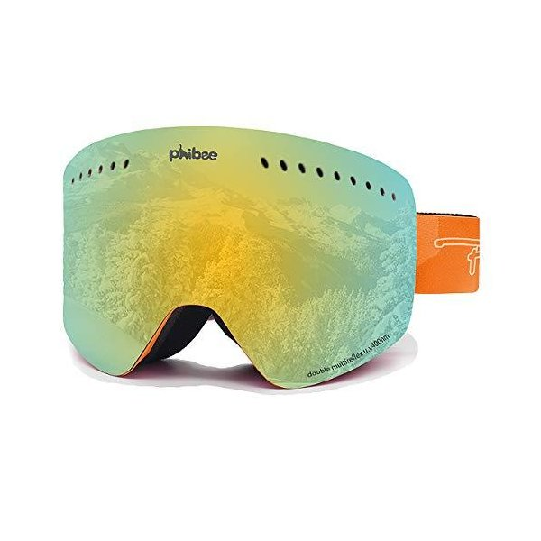 PHIBEE ユニセックス スノースキーゴーグル フレームレス 100% UV保護 スノーボードゴーグル メンズ レディ