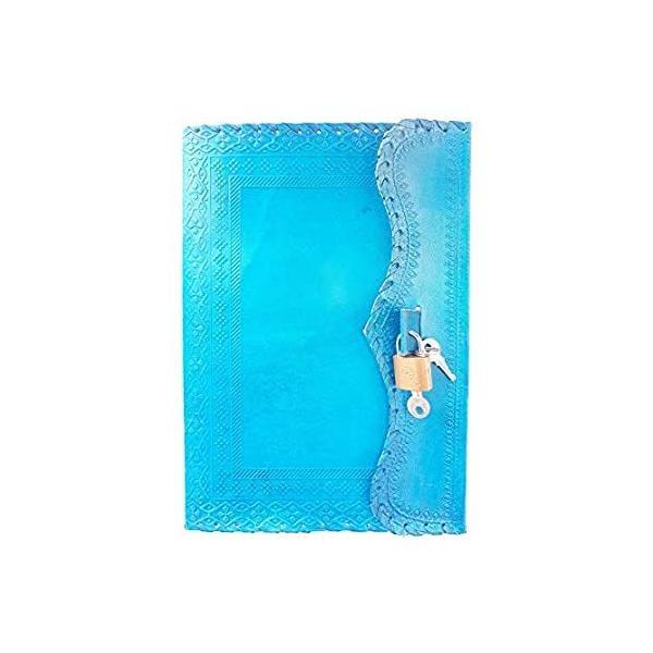 10インチ レザージャーナル ロック付き ライティングパッド付き ブランクノート ハンドメイド メモ帳 男女兼用 裏地なし 最高のプレゼント アート
