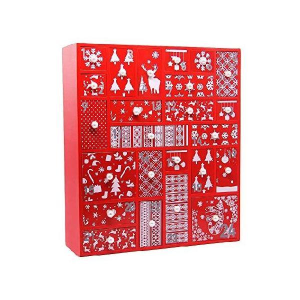 Juegoal レッドアドベントカレンダー 24個の引き出し付き クリスマスにカウントダウンできる木製アドベンチャー 高さ15インチ