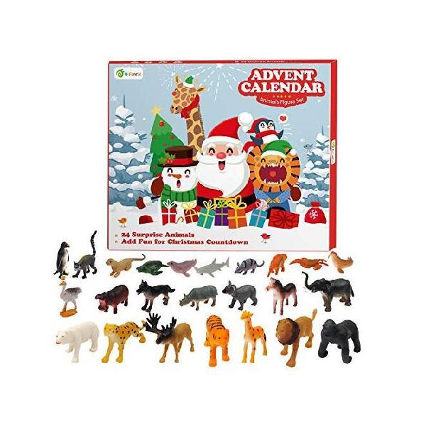 D-FantiX 動物のおもちゃ クリスマス アドベントカレンダー 2019 子供用 カウントダウンカレンダー 24個 リアルなミニジャングル動物園