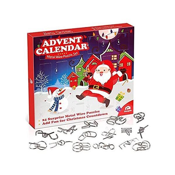 Coogam メタルワイヤーパズル おもちゃ アドベントカレンダー 2020年 クリスマスカウントダウンカレンダー 装飾ギフトボックス 24個セット