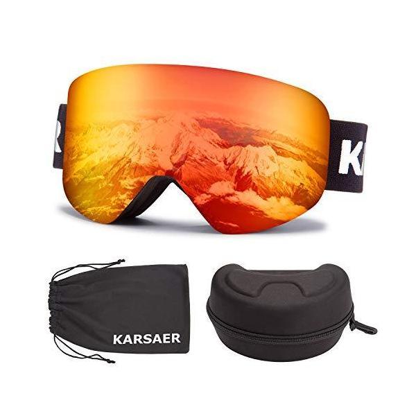 Karsaer スキーゴーグル OTG メンズ レディース ユース スノースポーツ 100%UV保護 防塵 傷防止 曇り止め マ