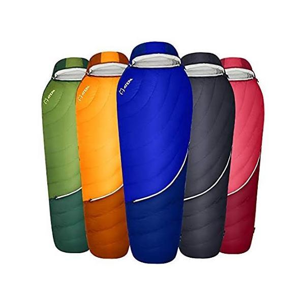 ATEPA 軽量ダウン寝袋 (XL & レギュラーサイズ) 16度 華氏 650FP 暖かい天候 バックパッキング 防水寝袋 圧縮バッグ&メッシュ収納