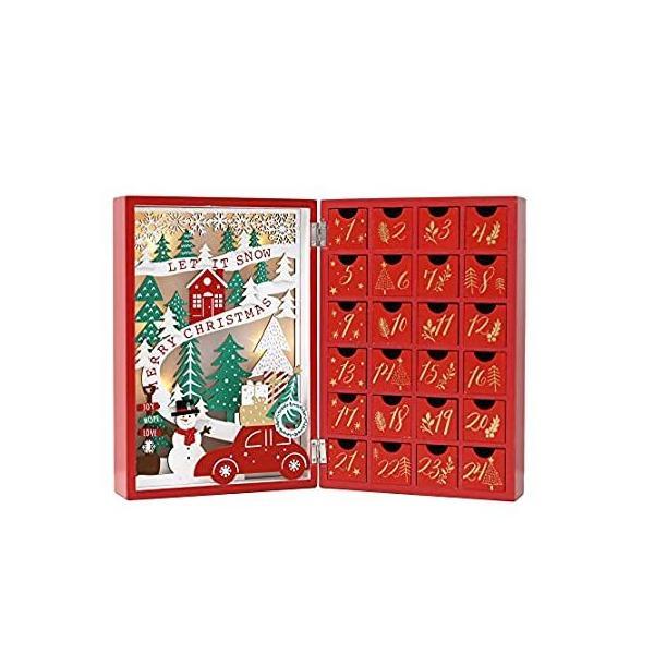 PIONEER-EFFORT クリスマス木製降臨節カレンダーブック 引き出し付き 大人 子供 クリスマス カウントダウン デコレーション LED照明付