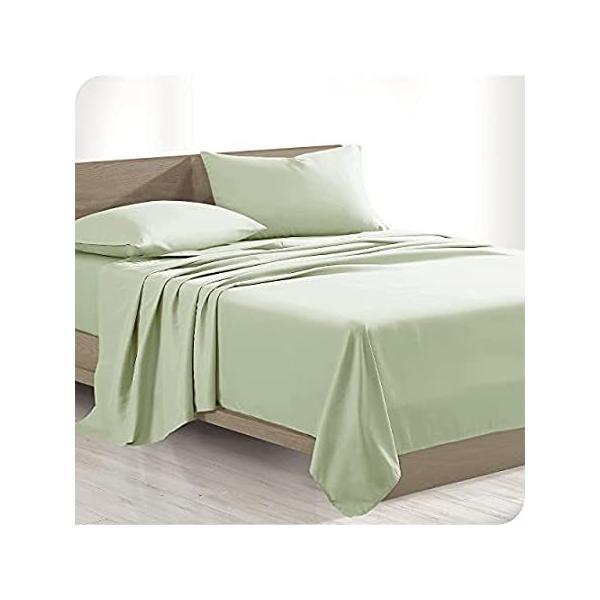 Bare Home 100%オーガニックコットンシーツセット - パリッとしたパーケール織り - 軽量で通気性あり (ツインXL、ウィロー)