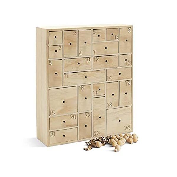 HYGGEHAUS DIY木製アドベンチャーカレンダー 引き出し付き クリスマス カウントダウン