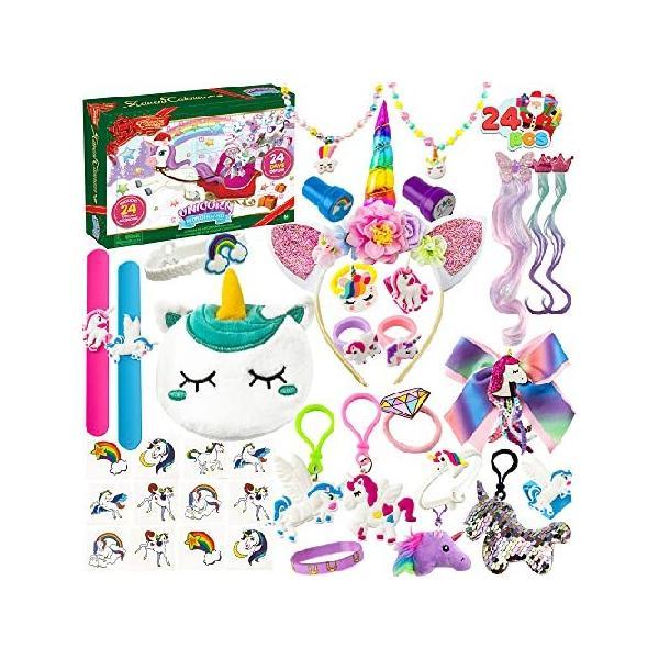 JOYIN クリスマス 24日 カウントダウン アドベントカレンダー 47個のユニコーンアクセサリー付き ジュエリー、ステッカー、スタンプ、リングなど