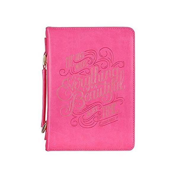ピンクファッション聖書カバー レディース | Everything Beautiful Ecclesiastes 3:11 | 聖書ケース/ブックカバ