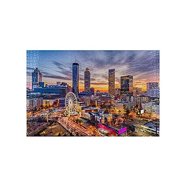 MQPPE USA 風景 DIY ジグソーパズル ジョージア州アトランタ スカイライン 1000ピース 木製パズル 最高の家族の減圧ゲーム 大人用 2