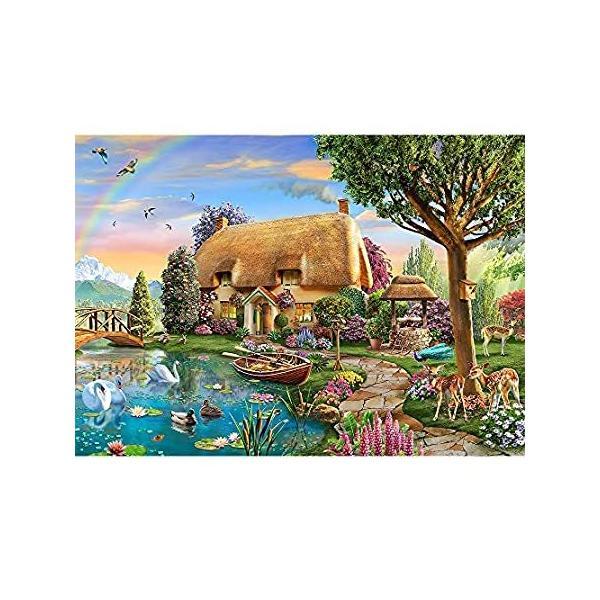 ジグソーパズル 大人用 1000ピース パズル レイクサイド コテージ 風景 大きなピース 面白い難しいパズル 大人 家族の装飾パズルゲーム (27.