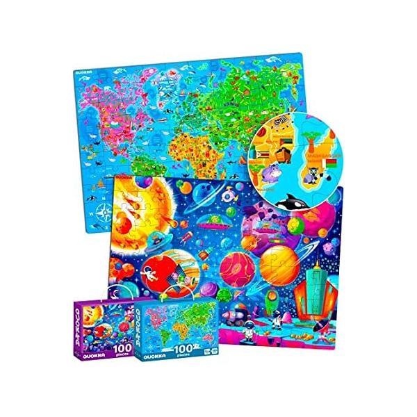 QUOKKA 4〜8歳児向け 100ピース ジグソーパズル - 3〜5歳の幼児向け大型フロアパズル - 世界地図&太陽系を学べるおもちゃ - 6〜8〜