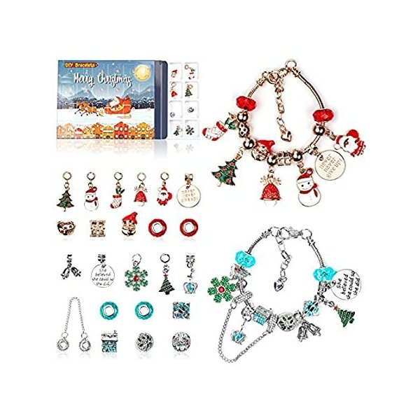 アドベントカレンダー 2021 クリスマスカウントダウンカレンダー クリスマステーマ DIY チャームブレスレット 女の子向けキット ジュエリーギフト