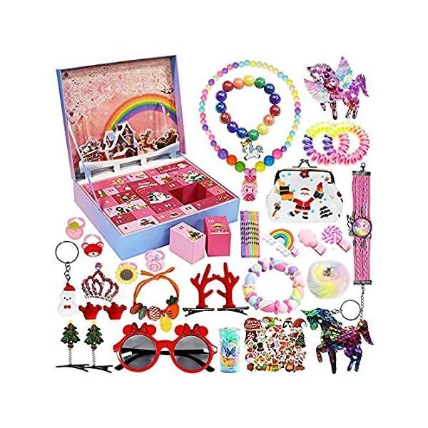 女の子向けアドベントカレンダー クリスマスカウントダウンカレンダー 2021 子供用 24日ジュエリー クリスマス カウントダウンギフト ヘアアクセサ