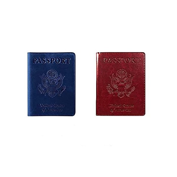 2 Pack Passport and Vaccine Card Holder Combo PU Leather Passport Holder wi