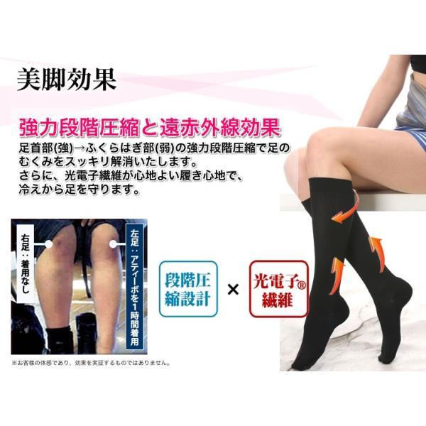 グラントイーワンズ ビビ アティーボ ハイソックス (2足組) BIBI Attivo 着圧 冷えとり むくみ 靴下 LALA 光電子 引き締め ダイエット メーカー公式|kyokusenbi|05