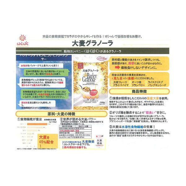 はくばく 大麦グラノーラ 160g×5袋|kyokushoku|04