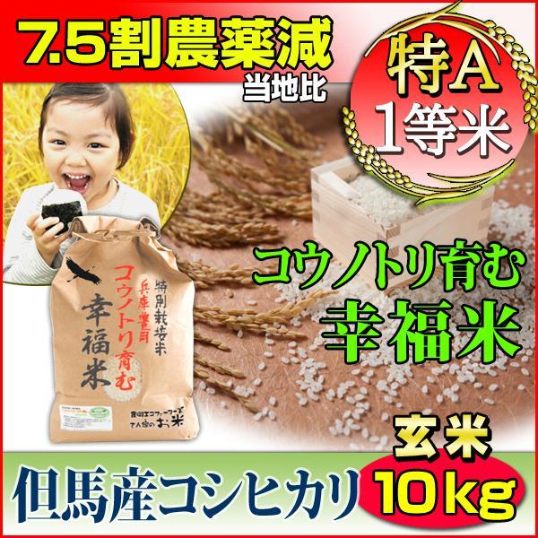 お米 10kg 玄米 コシヒカリ 特別栽培米 5kg×2 7.5割減農薬 兵庫県 但馬産 コウノトリ育む幸福米 特A 一等米 送料無料 令和2年産 タイムセール 安い