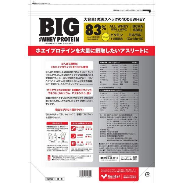 ケンタイ プロテイン Kentai BIG 100%ホエイプロテイン プレーンタイプ 3kg kyomo-store 02