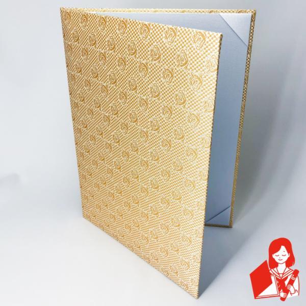 A4用 or B5用 金龍 西陣織布表紙 1枚収納用 内白ツヤ布 パット有 賞状ファイル 証書ホルダー※サイズをご選択ください