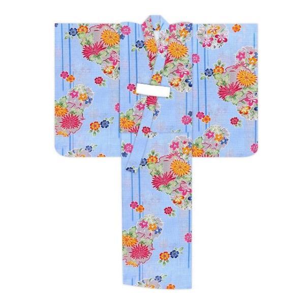 浴衣 子供 女の子 110 琉球紅型風 子供浴衣 110サイズ「水色 花に雪輪」BIN-11-EM|kyoto-muromachi-st|02