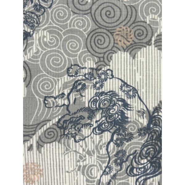 子供浴衣 100cm/110cm/120cm/130cm 男の子 渋い絵柄の変り織り浴衣「グレー 唐獅子」DBY45|kyoto-muromachi-st|04