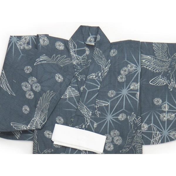 子供浴衣 100cm/110cm/120cm/130cm 男の子 渋い絵柄の変り織り浴衣「藍鼠 鷹」DBY47|kyoto-muromachi-st|02