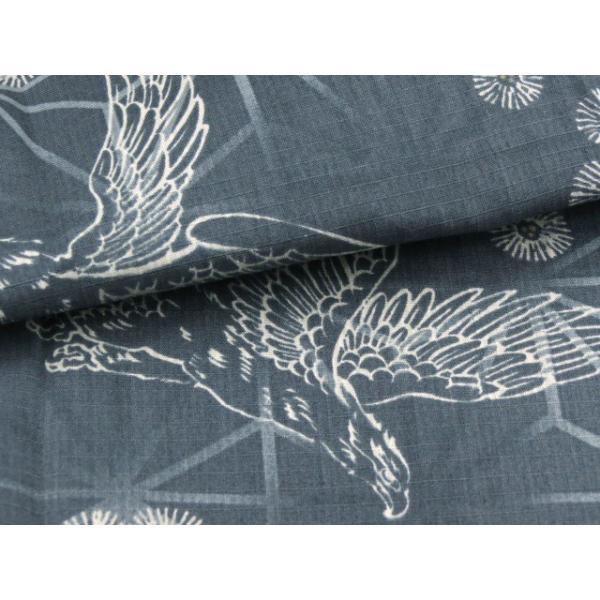 子供浴衣 100cm/110cm/120cm/130cm 男の子 渋い絵柄の変り織り浴衣「藍鼠 鷹」DBY47|kyoto-muromachi-st|05