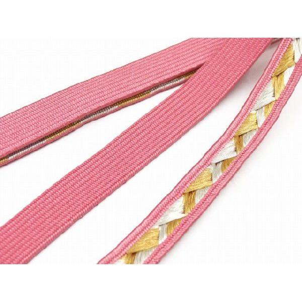 振袖用 正絹の帯締め 平組 成人式 十三参りに ピンク FOJ434|kyoto-muromachi-st|03