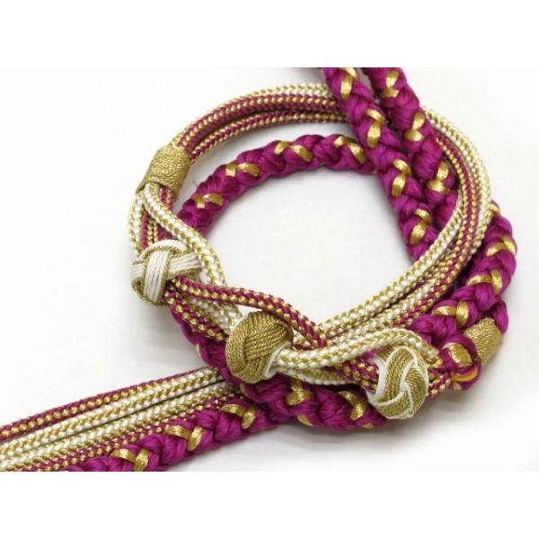 帯締め 振袖用 丸組 手組 帯〆(正絹)「赤紫」FOJ463|kyoto-muromachi-st|02