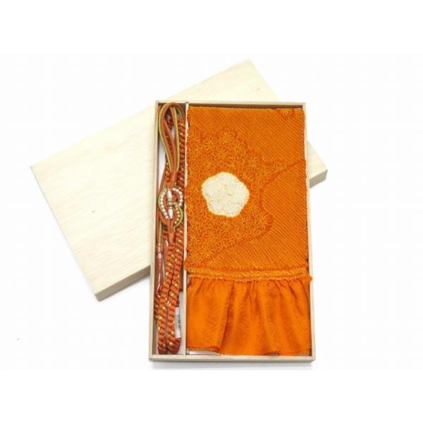 帯揚げ 帯締めセット 振袖用 総絞りの帯揚げ 丸組の帯締め セット 正絹「オレンジ系」FOJset489 kyoto-muromachi-st 04