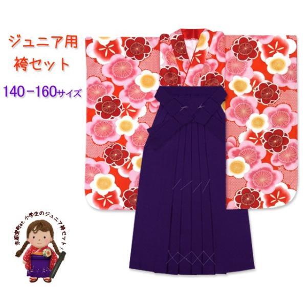 小学生 袴 セット 女の子 小学校の卒業式 ジュニアサイズの着物 無地袴 4点セット合繊「朱色 梅」HJF1606jmm