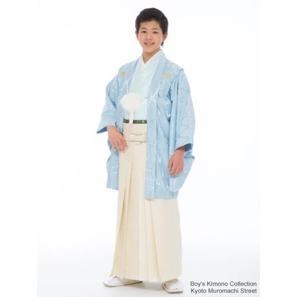 ジュニア着物 男の子 ジュニアサイズの紋付き袴セット「水色、立涌に違い鷹の羽」HJM-Mw-M|kyoto-muromachi-st|02