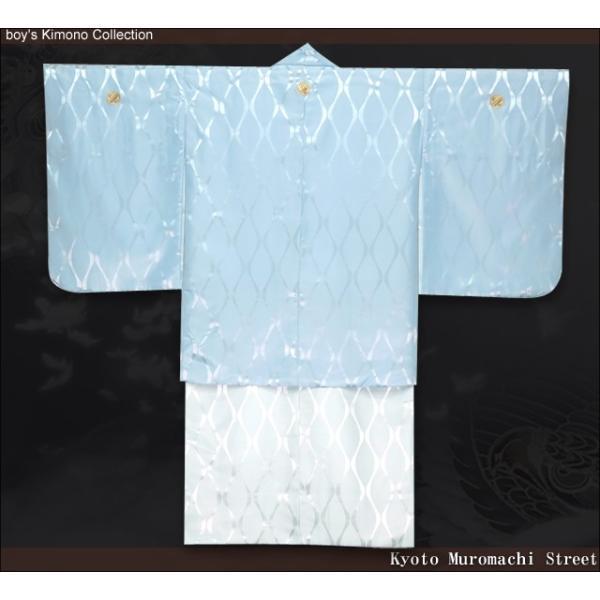 ジュニア着物 男の子 ジュニアサイズの紋付き袴セット「水色、立涌に違い鷹の羽」HJM-Mw-M|kyoto-muromachi-st|04