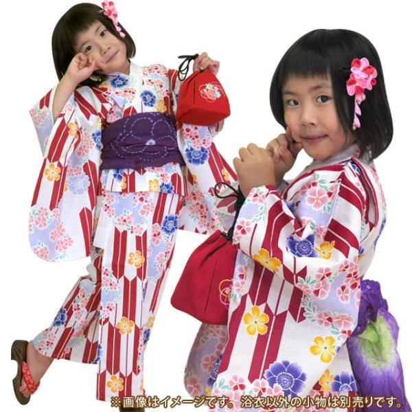 浴衣 子供 古典柄 女の子 子供浴衣 選べる3サイズ 100 110 120「生成り 赤矢絣に花」OCN-6A-ya|kyoto-muromachi-st|03