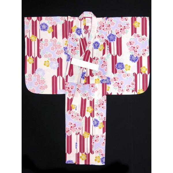 浴衣 子供 古典柄 女の子 子供浴衣 選べる3サイズ 100 110 120「生成り 赤矢絣に花」OCN-6A-ya|kyoto-muromachi-st|04