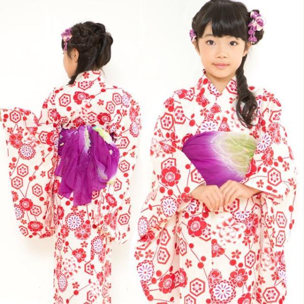 浴衣 子供 古典柄 女の子 子供浴衣 選べる3サイズ 100 110 120「赤系 古典柄」OCN-8A-ya|kyoto-muromachi-st|03