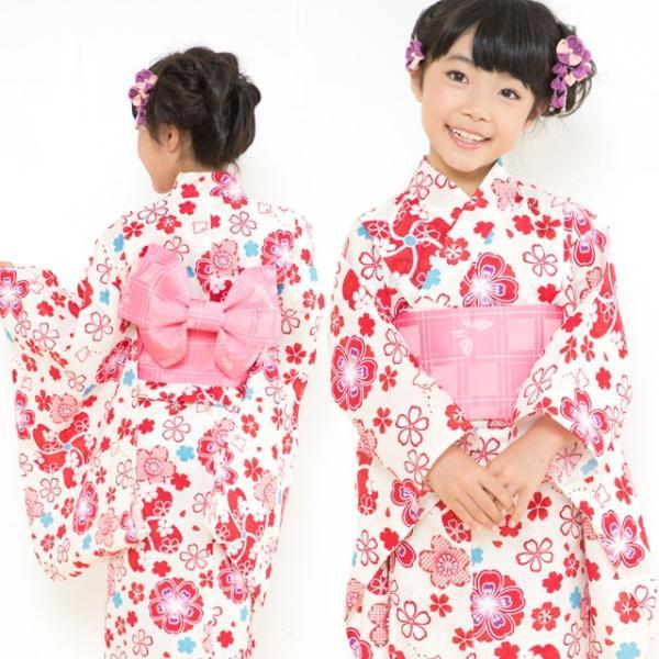 浴衣 子供 古典柄 女の子 子供浴衣 選べる3サイズ 100 110 120「赤系 桜と千鳥」OCN-9A-ya kyoto-muromachi-st 03