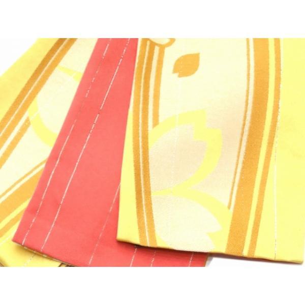 浴衣 帯 レディース R・K ブランド 長尺 リバーシブル 半幅帯 合繊「黄色 桜」RKO781|kyoto-muromachi-st|02