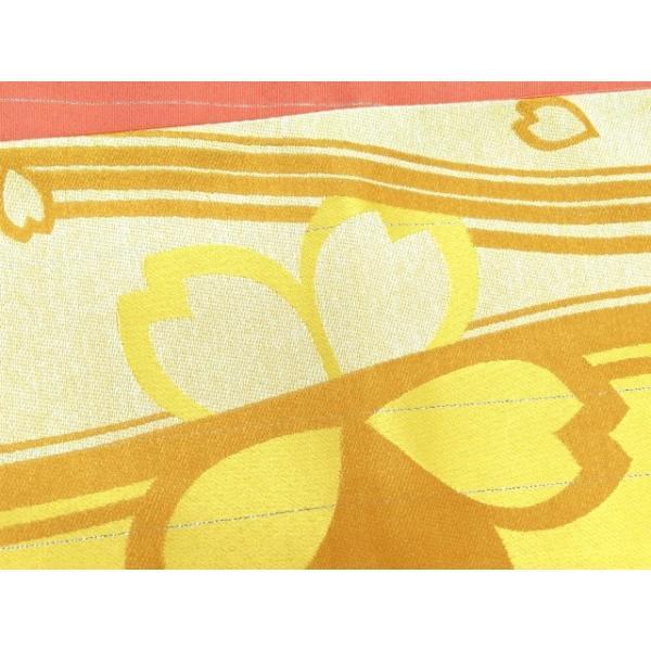 浴衣 帯 レディース R・K ブランド 長尺 リバーシブル 半幅帯 合繊「黄色 桜」RKO781|kyoto-muromachi-st|03