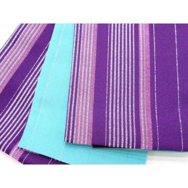 浴衣 帯 レディース R・K ブランド 長尺 リバーシブル 半幅帯 合繊「紫 ストライプ」RKO790 kyoto-muromachi-st 02