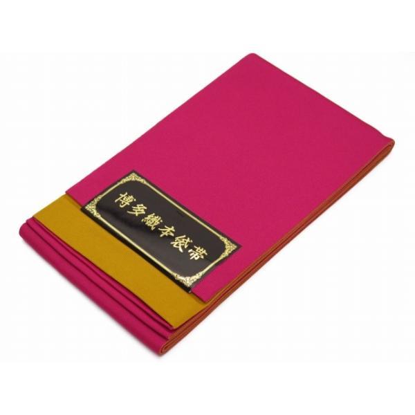 浴衣などに 博多織 無地の小袋帯 リバーシブルタイプ「黄&濃いピンク」RMJ505|kyoto-muromachi-st|02
