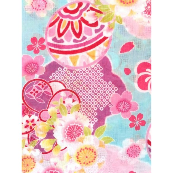 浴衣 子供 レトロ 古典柄 女の子 式部浪漫 こども キッズ 子供浴衣 選べるサイズ 100 110 120 130「ブルー 鞠」SRY-B23|kyoto-muromachi-st|05