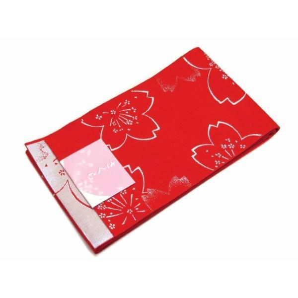 浴衣帯 ゆかた帯 単(ひとえ)の半幅帯 リバーシブル「赤、桜」TGO276 kyoto-muromachi-st 02