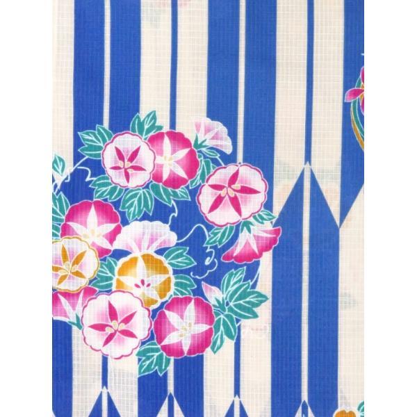 浴衣 子供 レトロ 古典柄 女の子 110 子供浴衣 単品「青 花輪に矢絣」TSGY-1110|kyoto-muromachi-st|03