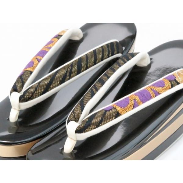 草履バッグセット 振袖に 四枚芯の草履と西陣織のバッグセット フリーサイズ「黒 菊」ZBN102