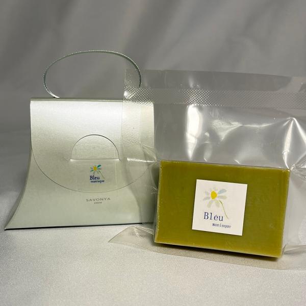 オリーブオイルで作った 洗顔石けん ブルウマニアック ブルーカモミール系の香り 90g |kyoto-savonya