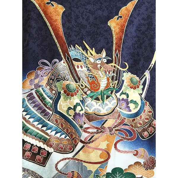 お宮参り レンタル着物 産着 男の子初着 B29 正絹紺地 兜 熨斗 軍配|kyotokikuya|03