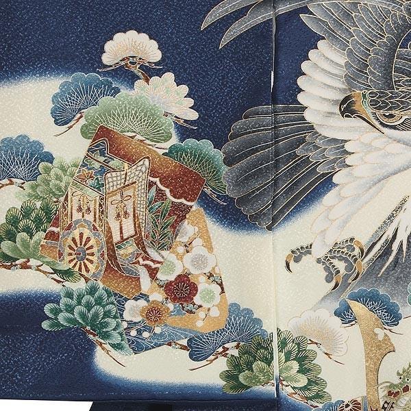 お宮参り レンタル着物 産着 男の子初着 B94 紺地 富士に鷹兜|kyotokikuya|03